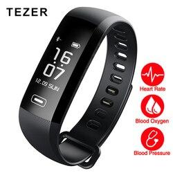 TEZER R5MAX ضغط الدم مراقب معدل ضربات القلب الدم الأكسجين 50 رسالة دفع كبيرة الذكية سوار لياقة بدنية ووتش ذكي