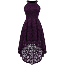 Elegant Women Lace Dress for Wedding Bridesmaid Sleeveless Halter High Waist High-low Pleated Vintage Formal Party