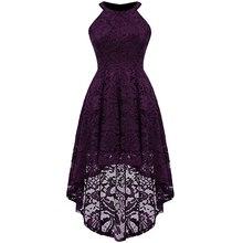 цены Elegant Women Lace Dress for Wedding Bridesmaid Sleeveless Halter High Waist High-low Pleated Dress Vintage Formal Party Dress
