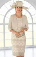Long Sleeves Mother Of The Bride Dresses With Jacket Lace Simple Plus Size Custom Made Mother's Dress Mother Of The Groom