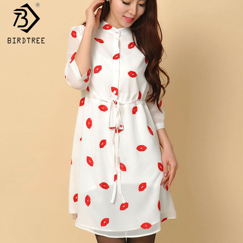 Casual Drawstring Autumn Cute Red Lips Print Stand Collar lined Dresses Women Chiffon Dress with Sashes Plus Size S-4XL