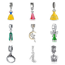 New Original Silver Plated Alloy Bead Charm Enamel Princess Dress Pendant Dangle Fit Pandora Bracelet Necklace DIY Women Jewelry(China)