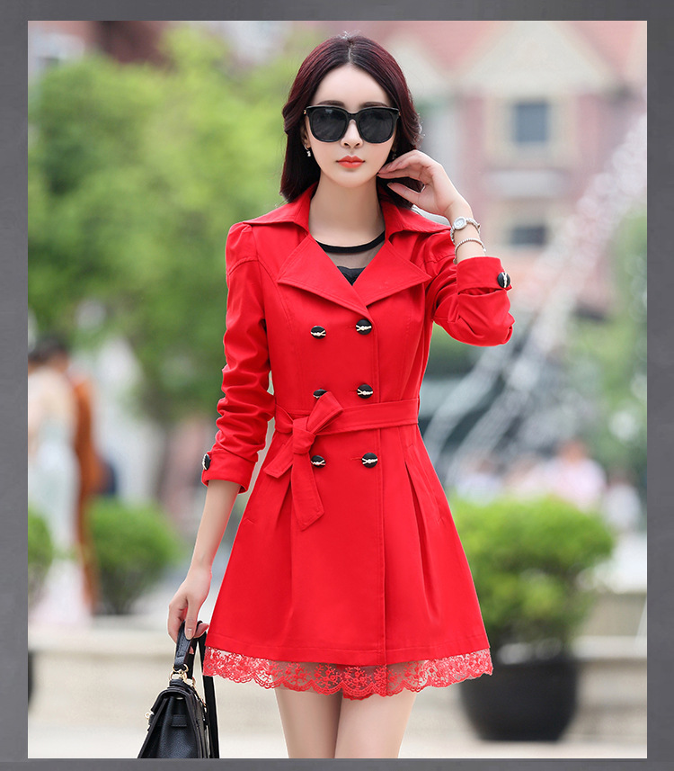 Trench   Coat Women Double-Breasted Trenchcoat Lace Female Autumn Casual Coats Windbreaker Outwear Plus Size Raincoat Hot Sale