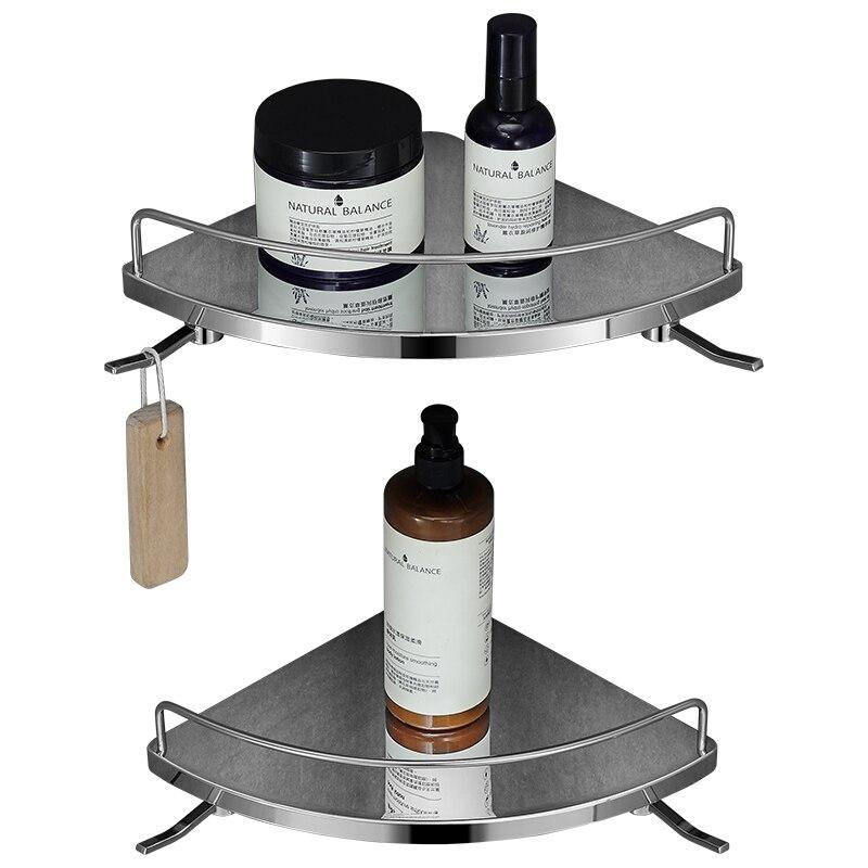 Étagère de salle de bains poinçonnage gratuit en acier inoxydable cadre triangle avec garde-corps toilette salle de bains matériel rack trépied SN93