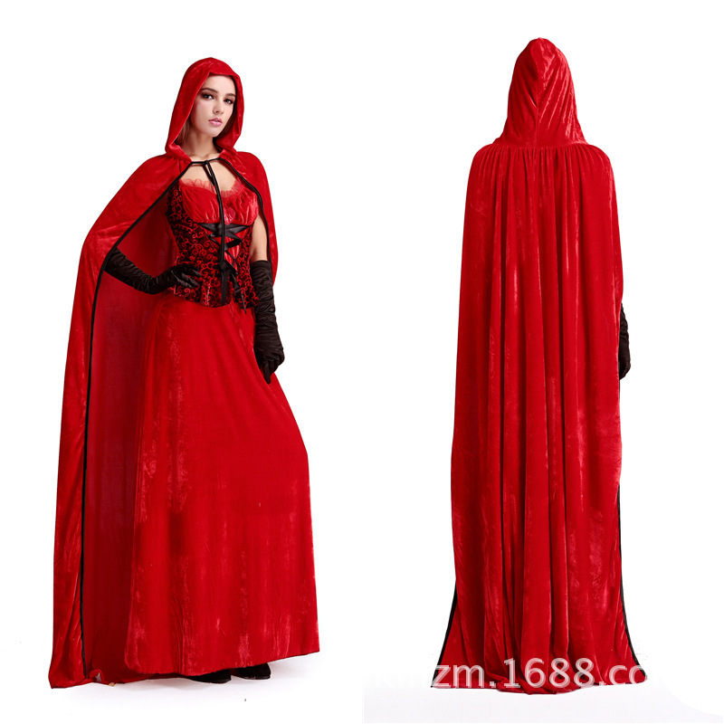 Hot Sale The new long cloak little red riding hood Halloween costume The queens Christmas carnival costume Freeshipping