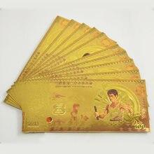 Großhandel Goldfolie Banknote Erstaunliche Bruce Lee 100 Phantasie Metall Farbige Banknote für Wert Sammlung