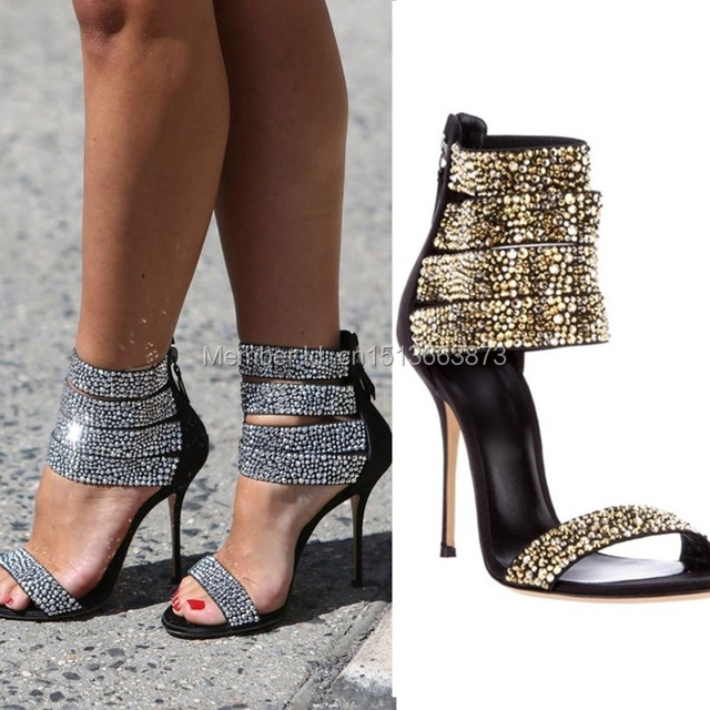719b5e2adec4 Bling Silver and Gold Rhinestone Ankle Straps High Heel Sandals Ladies Open  Toe Satin Crystal Gladiator Dress Shoes Plus Size 42