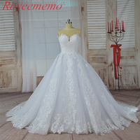 2017 Hot Sale Skin Color Tulle Top Special Lace Design Wedding Dress Factory Made Wholesale Price
