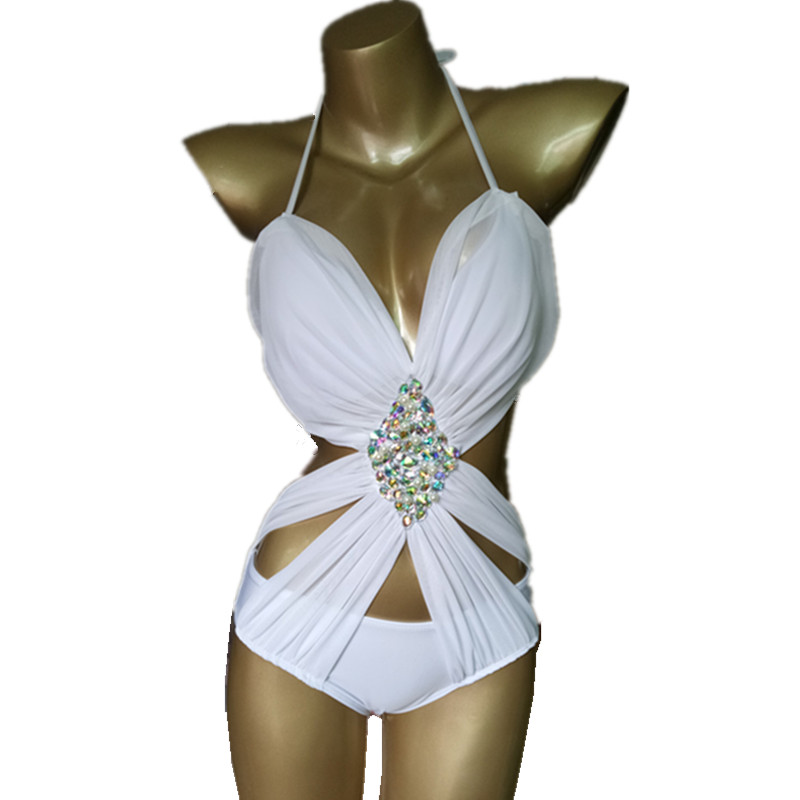 Sexy Deep V Neck One Piece Swimsuit Crystal Bodysuit Women Swimwear Luxury Rhinestone Bikini High Waist Diamond Bandage Bather women solid one piece swimsuit halter backless bandage bodysuit monokini deep v neck sexy high waist vintage beach wear