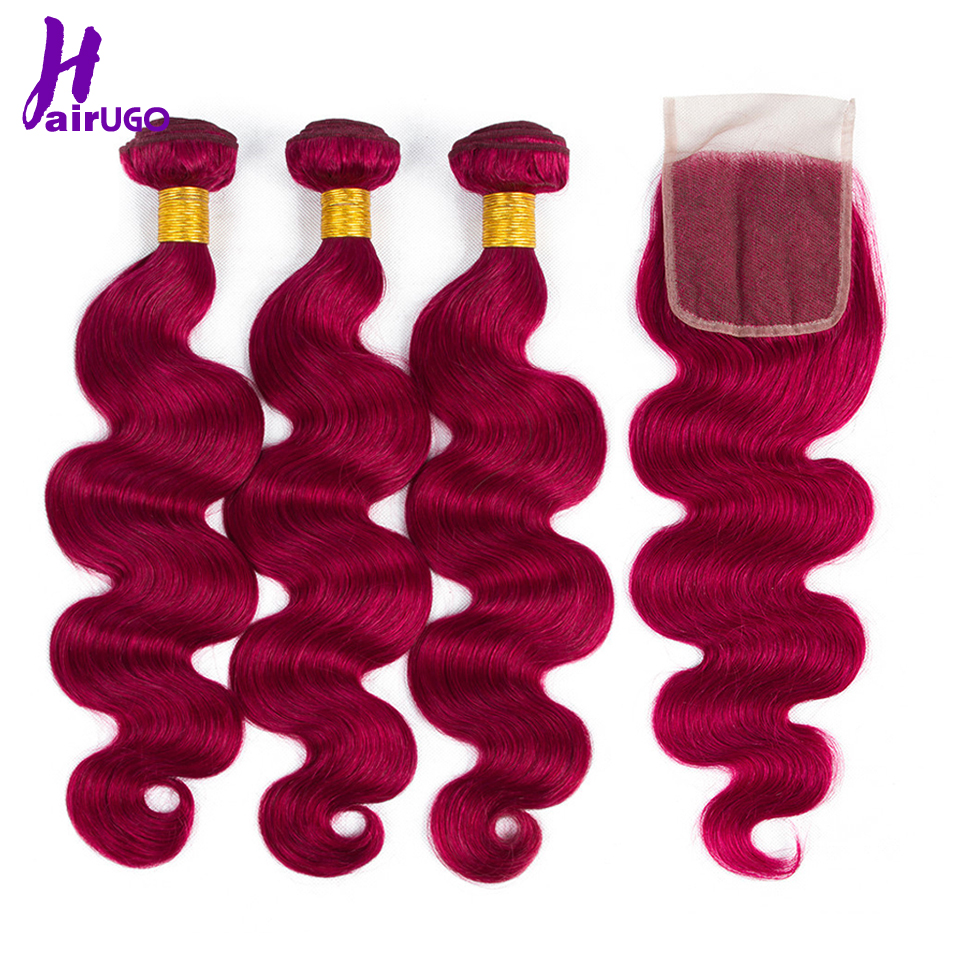 HairUGo Hair Human Hair Bundle With Closure BUG Color Malaysia Hair Weaves Bundles With Lace Closure
