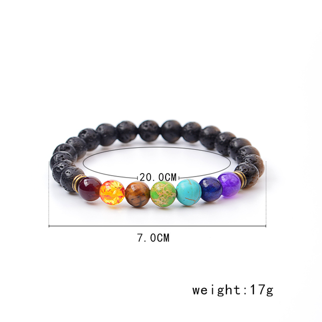 Multicolor Tiger Eye Stone Black Resin Lava Beads Chakra Bracelets Wristband Bangles bijoux Rope Chain Women Men Jewelry 1
