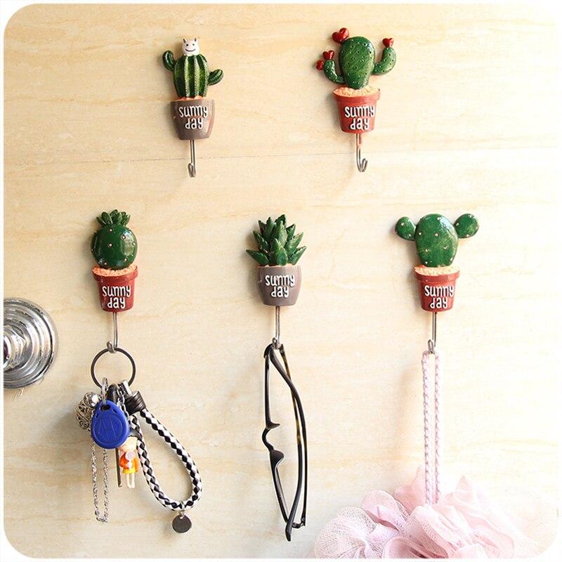 Creative Plants Shape Hanging Hooks Strong Self Adhesive Hats Coat Hanger Storage Hook Key Holder Bathroom Kitchen Accessories
