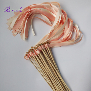 Image 3 - Hot selling 50pcs/lot coral and champagne wedding ribbon wands with gold bell  ribbon Twirling Streamers wedding ribbon stick