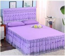Purple color 1.5m/1.8m/2.0m cotton material Lace edge 3pcs bedspread set hot sale bed cover pillowcase home textile bedskirt