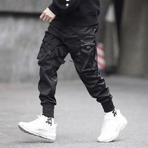 Image 2 - 男性リボン色ブロック黒ポケット貨物パンツ 2020 ハーレムジョギング原宿 Sweatpant ヒップホップズボン