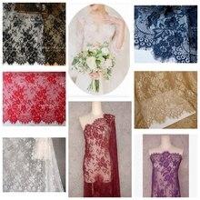 3 meters High grade France Eyelash lace fabric DIY wedding dress fabric Garment dress sewing cloth Home decoration textiles