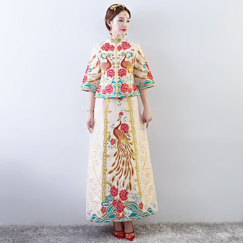 vintage Chinese style wedding cheongsam formal dress royal Peacock costume bride traditional Tang suit Embroidery Qipao New