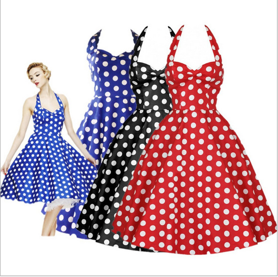 Stili më i ri i Verës Retro Hepburn Vestidos Veshje Fustan Vintage Big Swing Polka Dot Backless Rockabilly Dot Dresses Sexy J713