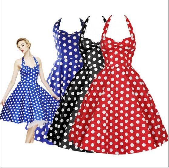 Summer Style Retro Audrey Hepburn Vestidos Woman Vintage Dress Big Swing Polka Dot Backless Rockabilly Plus Size Dresses J713