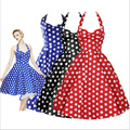 Summer Style Retro Audrey Hepburn Vestidos Woman Vintage Dress Big Swing Polka Dot Backless Rockabilly Plus Size Dresses J713