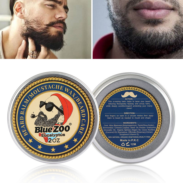 1 Box 60g Natural Beard Balm Moisturizing Sweet Orange Sandalwood Eucalyptus Organic Beard Wax Hair Removal Men's Makaup Fashion