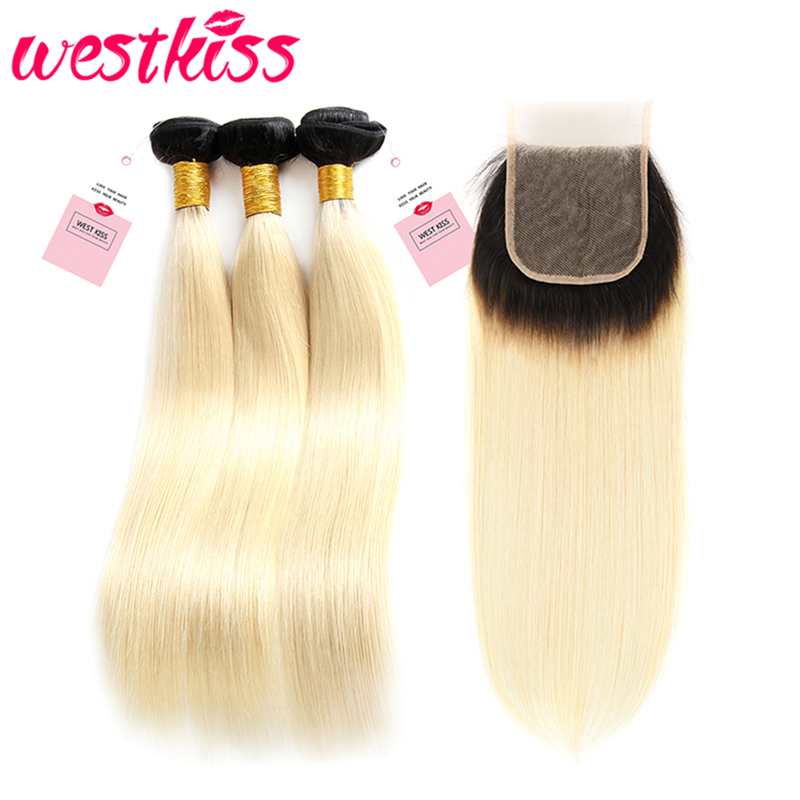 West Kiss 1B/613 Blonde Hair Brazilian Straight Hair Bundles With Closure 4x4 Free Part Swiss Lace Closure 8-24 Inch Remy Hair