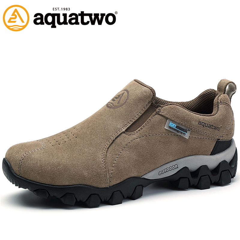 AQUA TWO Outdoor Camping Men Sports Hiking Shoes Suede Genuine Leather Walking Sneakers Durable Waterproof Shoes ES-100957 aqua two outdoor camping men sports hiking shoes genuine leather boots walking sneakers wear resistance lace up shoes es 101022