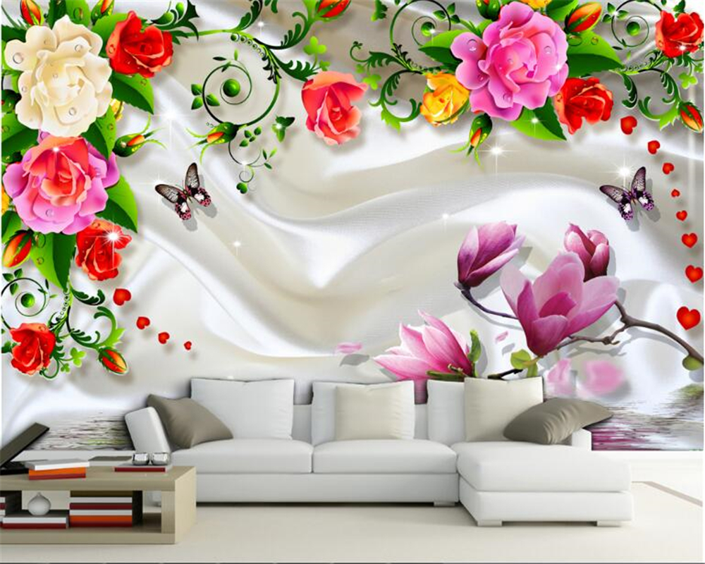 beibehang Fashion aesthetic eye-catching wallpaper flowers rich romantic romantic fragrance background papel de parede tapety