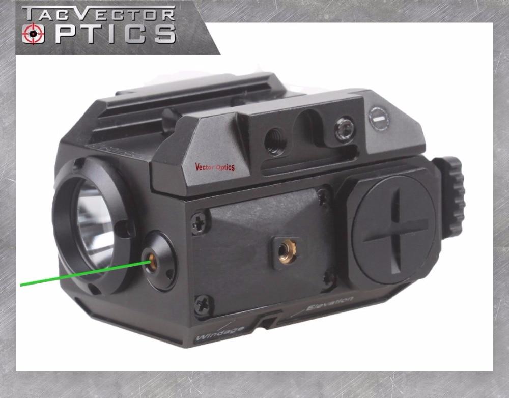 Vector Optics Blackout Tactical Pistol Handgun Weapon Flashlight with Green Laser Dot Sight fit 20mm Weaver Rail for Glock 17 19 black tactical ultra compact led handgun weapon pistol light xc1 mini flashlight for glock