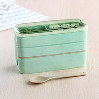 Beautiful Mint Green Advanced 3 Layers Lovely Microwaveable Plastic Lunch Box Meal Bento Case For Kitchen