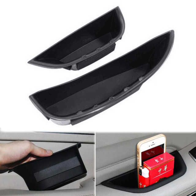 2Pcs Black Front Door Armrest Storage Box Holder Container Organizer For Benz C Class W205 2014 2015 For Left