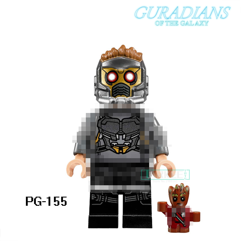 PG155 Star-Lord Peter Super Hero DIY Figure Single Educational Blocks Guardians of the Galaxy Bricks Kids Toys PG8044 Model Gift