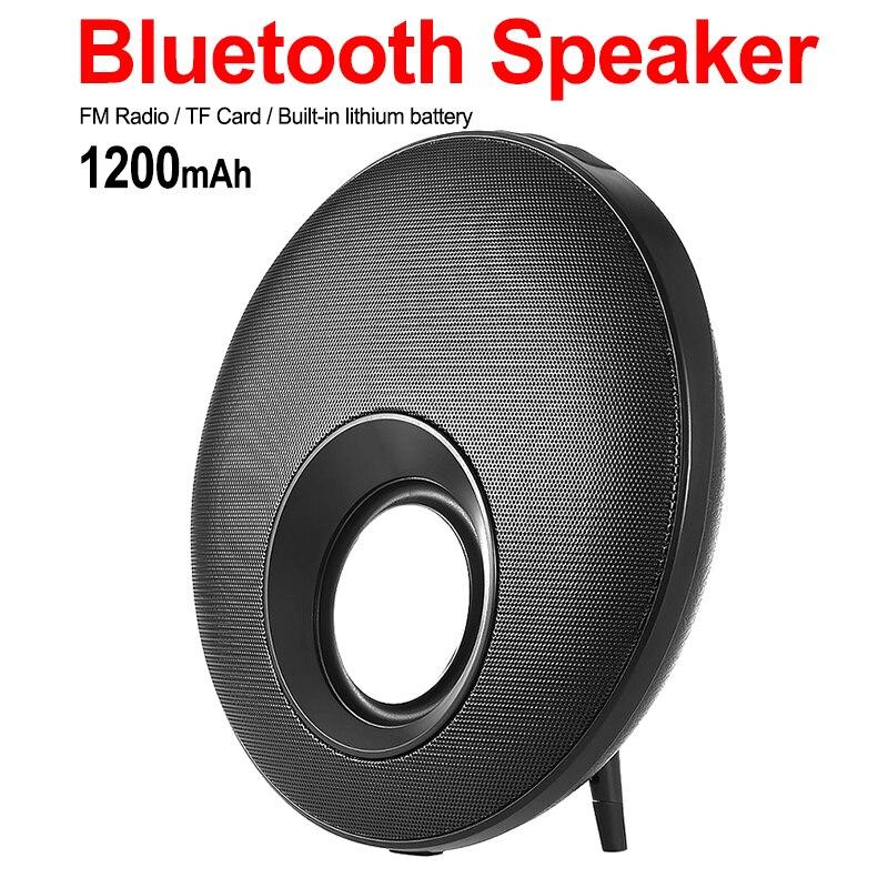Haut-parleur Bluetooth Mega Bass de forme ronde avec Support de micro mains libres TF Card Play caisson de basses à diaphragme HIFI Frisbee