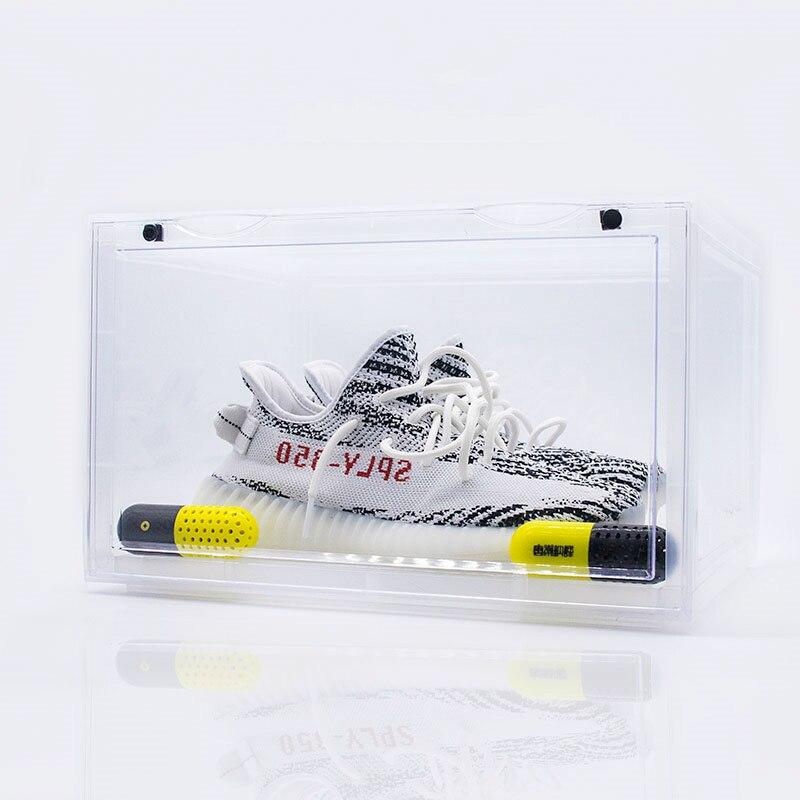 2019 tendance en plastique Transparent boîte à chaussures épaississement peut être superposée baskets côté vitrine chaussures de sport organisateur stockage - 4