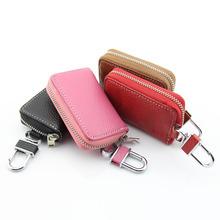 TIOODRE skórzane portfele na klucze samochodowe moda brelok gospodyni Zipper etui na klucze Unisex solidny portfel na klucze organizator tanie tanio Skóra Car Key Ring Breloki