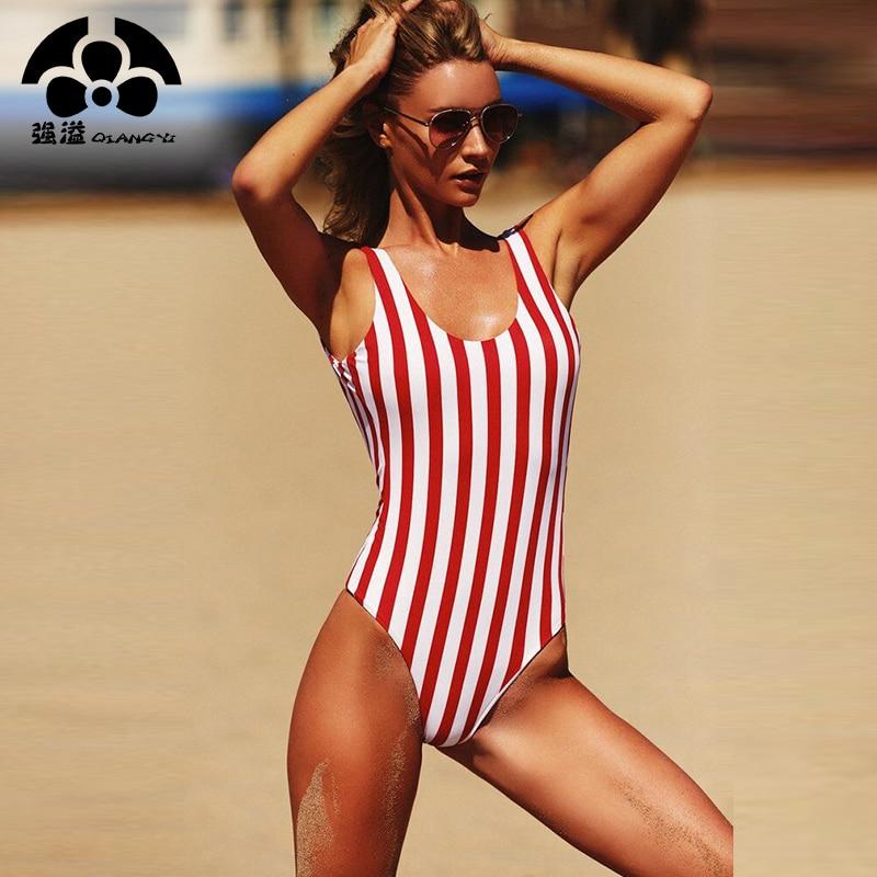 QIANG YI 2018 Women Swimsuit One Pieces Swimwear Female Stripe Bikini Push Up Jumpsuit Vest Bathing Suit Beach Bather Summer