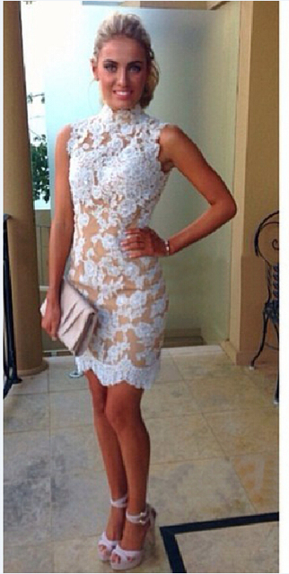 9878c977a5a New Style Sexy High Neck Backless White Lace Champagne Lining Mini Sheath  Cocktail Dress Custom Made Size 4 6 8 10 12 14 16++ C6