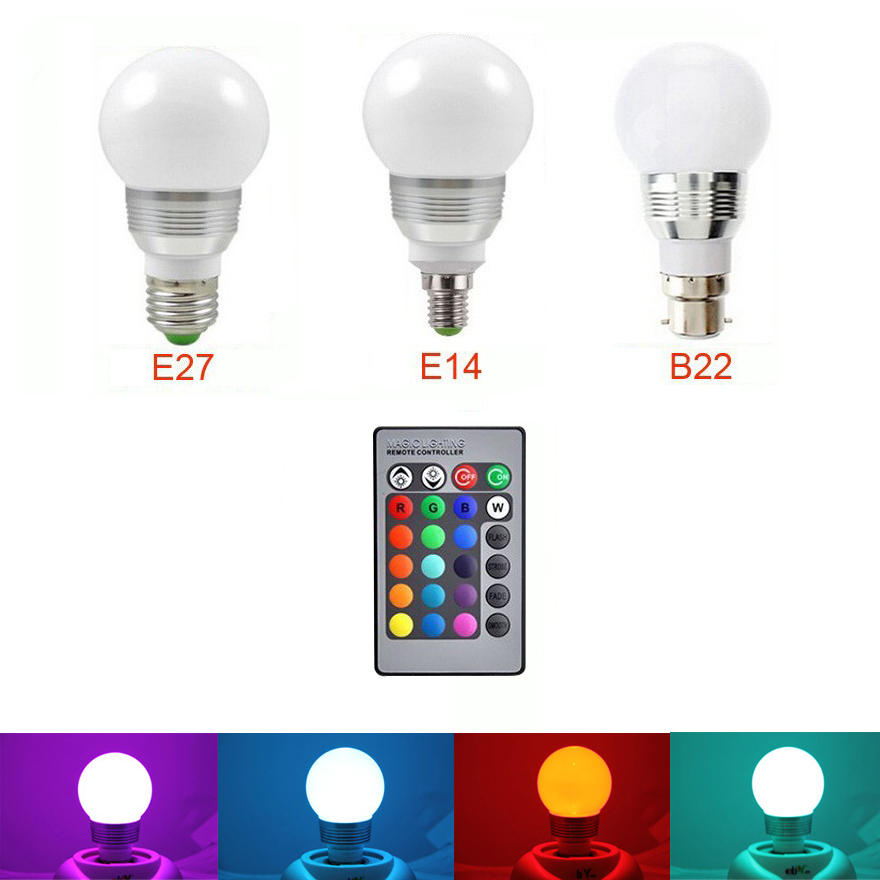 E27 E14 B22 LED Lamp with IR Remote controller changeable RGB Color AC 110V 220V 9W ener ...