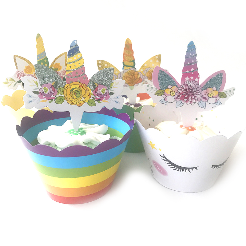 24pcs lot 4 Design Unicorn Theme Girls Favors Wedding Party Cake Toppers Happy Birthday Decorate Baby Shower Cupcake Wrappers in Cake Decorating Supplies from Home Garden