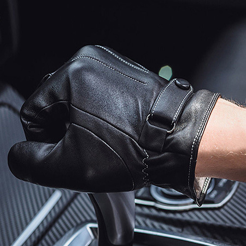 Warm and Comfortable Men Touch Screen Gloves made of Faux Leather with Conductive Fiber Suitable for Bike Riding and Cycling 10
