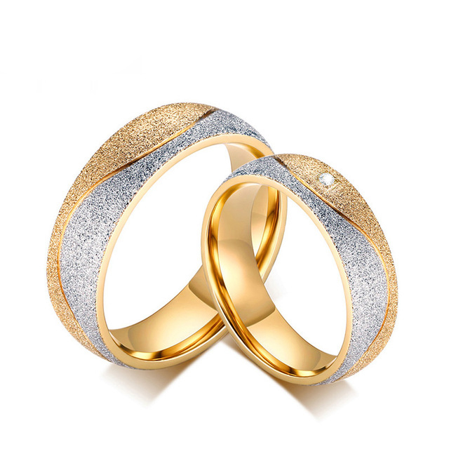 Wedding Rings Pair For Men Women Gold Color Matching Wedding Bands
