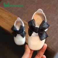 Claladoudou 11 8 13 8CM Toddler Bow Red Genuine Leather Shoe Infant Mary Jane Strap Black