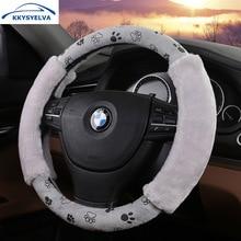 KKYSYELVA Warm Plush Fur Car steering wheel cover Winter Woolen Interior Accessories 38cm wool Auto Steering-wheel Covers