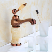 Gold & Rose Gold Jade article Bathroom Decorating Faucet Single handle Single Hole Sink Basin Faucet Bathroom Accessories