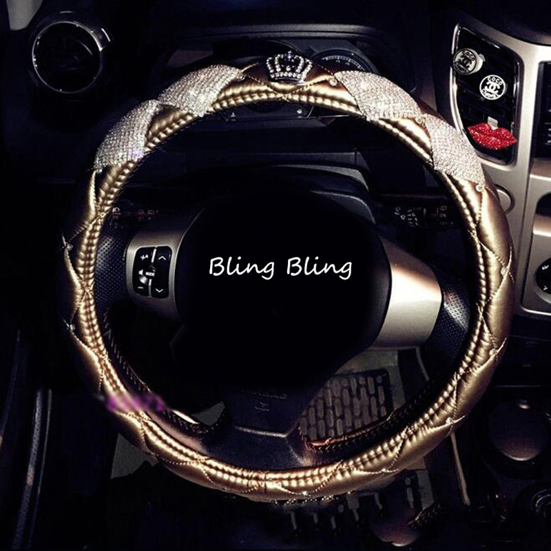 Luxury Diamond Crown Leather Car Steering Wheel Covers with Crystal Bling Bling Rhinestones for Girls Car Interior Accessories