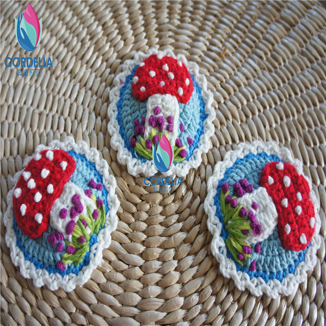 3 Pcs Best Selling European Fashion Natural Cotton Crochet Lace Doilies  With 3D Mushroom Flower For