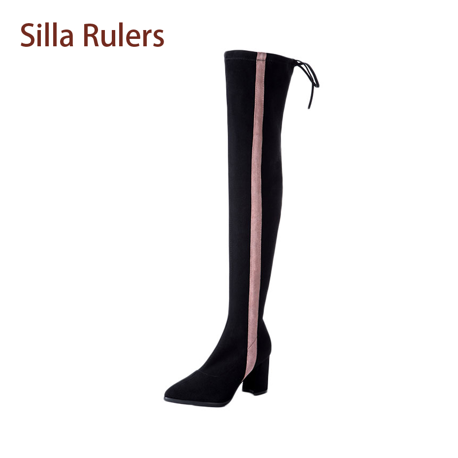 Silla Rulers Fashion Winter Stretch Knight Long Boots For Women Suede Pointed Toe Mixed Color Pink Grey Thigh High Boots Women