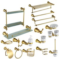 Gold 17 Piece Bathroom Hardware Accessory Set Towel bar rack shelf Robe hook paper holder ring Toilet brush Soap dish Cup holder