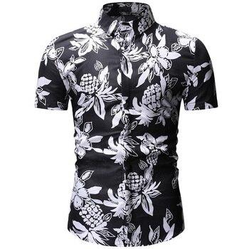 Mens Hawaiian Shirt Male Casual Camisa Masculina Printed Beach Shirts Short Sleeve Brand Clothing Free Shipping Asian Size 3XL 3