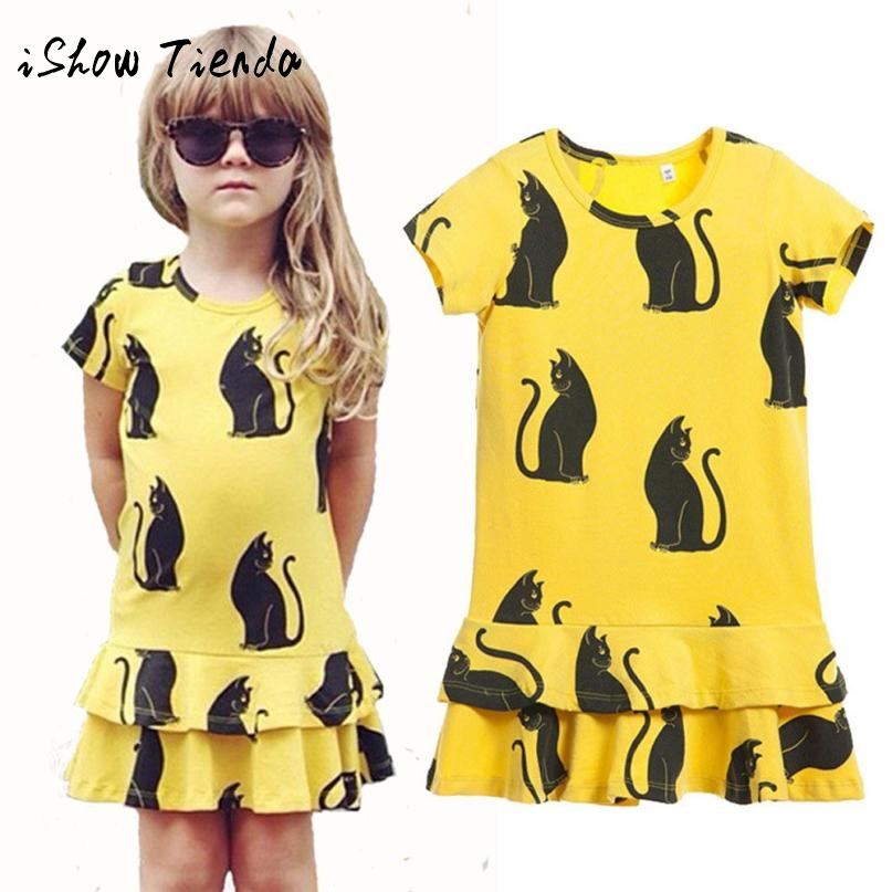 Kids Baby Girls Black Cat Printing Short Sleeve Dress Clothes tutu dresses for girls robe fille automne yellow dress kids Dress